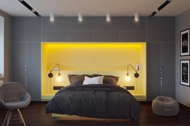 Beautiful and minimalist bedroom design with gray color... | Visit : roohome.com  #bedroom #bed #design #decoration #beautiful #beautifulview #fabulous #gorgeous #interior #creative #great #elegant #minimalist #awesome
