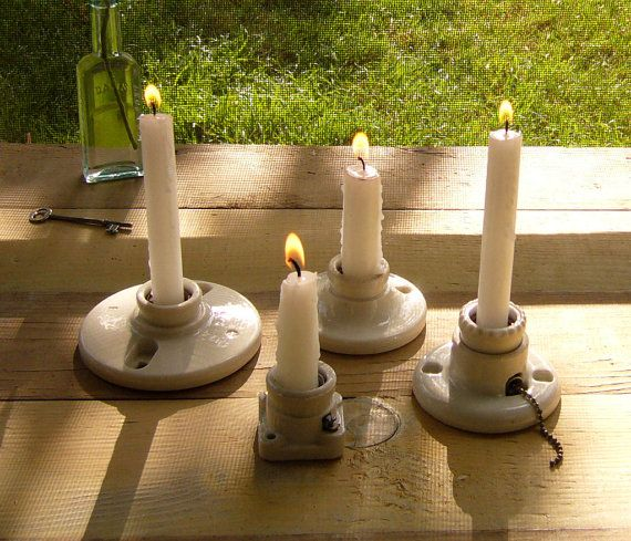 reuse vintage porcelain light fixtures as candle holders