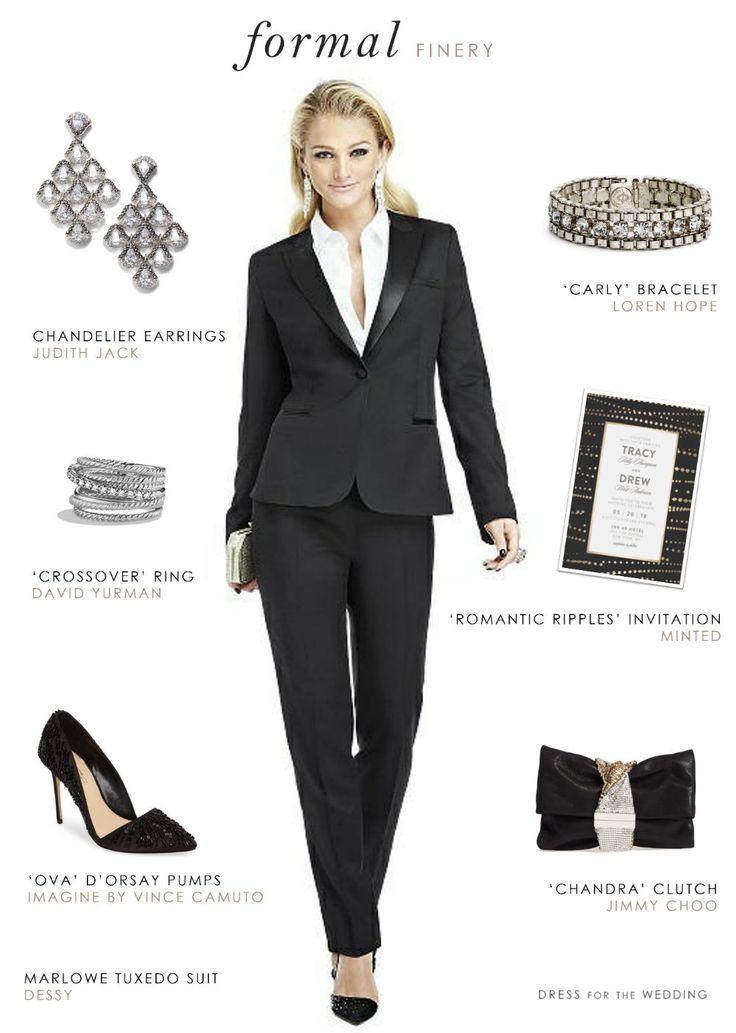 A style idea for women's tuxedo for a wedding or black tie event. This feminine tailored black tuxedo is the perfect look for a bride or formal wedding guest.