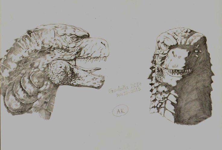 Godzilla 2014 head  Side and Front speculation by AmirKameron