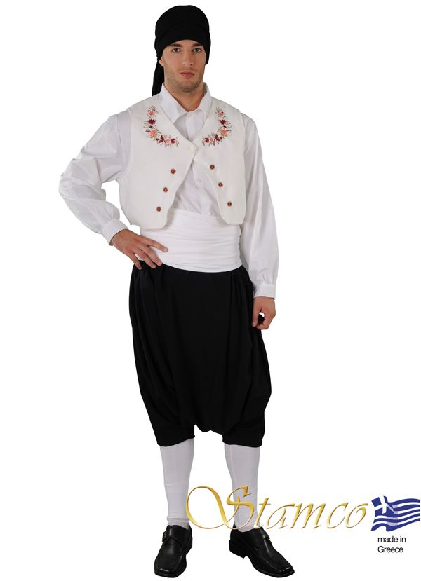 Man from Sporades on white embroidered vest - 642086