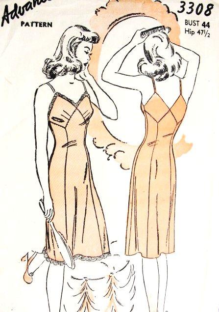 1940s PIN UP Style Slip Pattern ADVANCE 3308 War Time WW II Lovely Slip Plain or Lace Trim V Back Bust 44 Vintage Sewing Pattern