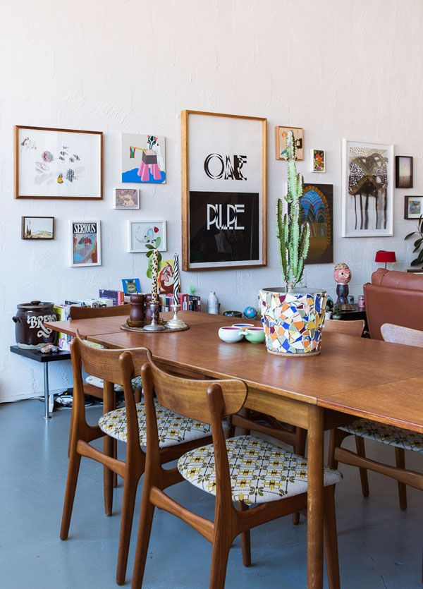 Dining area.  Artwork from left – Amber Wallis, Mark Rodda, Kate Smith, Thomas Jeppe, Bec Worth and Joanna Zawadzka, Trevelyan Clay, Steven Asquith, Jake Walker, Matthew Griffin.  Photo – Sean Fennessy, production – Lucy Feagins / The Design Files.