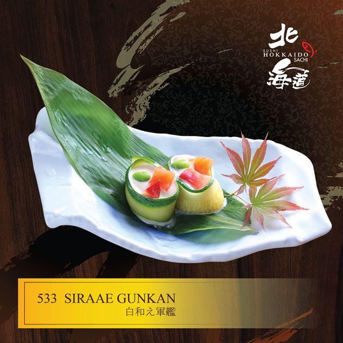 Siraae Gunkan: Sushi sốt đậu nành với cá hồi, cá ngừ, thanh cua và đậu nành