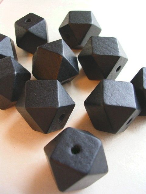 Faceted Cube Wooden Beads Black