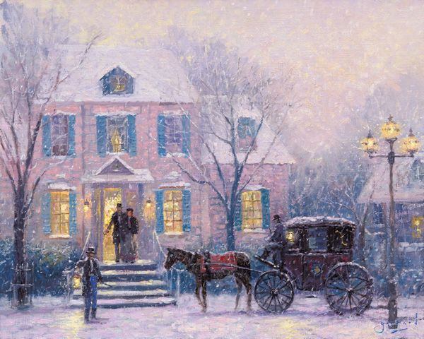 """An Evening Out by Thomas Kinkade ~~ This rare print bears two original signatures by Thomas Kinkade, his Kinkade and Girrard signatures and is one of only two prints that have Thomas Kinkade's """"First Cottage"""" embossed in their border. The print is on rich, heavy archival art paper."""