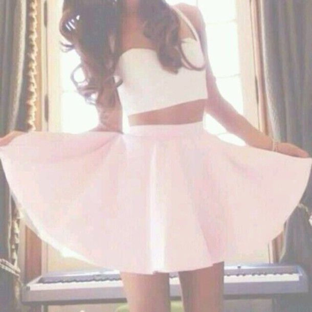 Spaghetti strap crop top/bralet and baby pink skater skirt