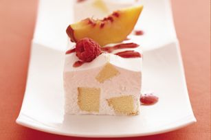 #kraftrecipes Frozen Peach Shortcake Squares recipe - If you are looking for a delicious dessert that is easy to make and light look no further for here it is.  Fresh fruit adorn this dessert making it a heavenly after dinner treat.