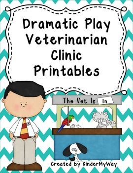 "Veterinarian Clinic Dramatic Play Printables FREEBIE!! Fun product for your dramatic play area. This product includes the following printables: Open/Closed Signs ""Dr. _________ Is On Duty"" Sign Pet Supplies Sign Waiting Room Sign Patient Form Doctor's Notepad"