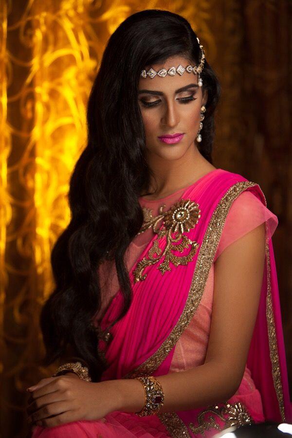 Hot pink sari and hair jewelry