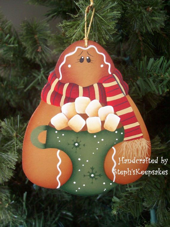 Let's Have Cocoa Gingerbread Ornament by stephskeepsakes on Etsy, $7.25