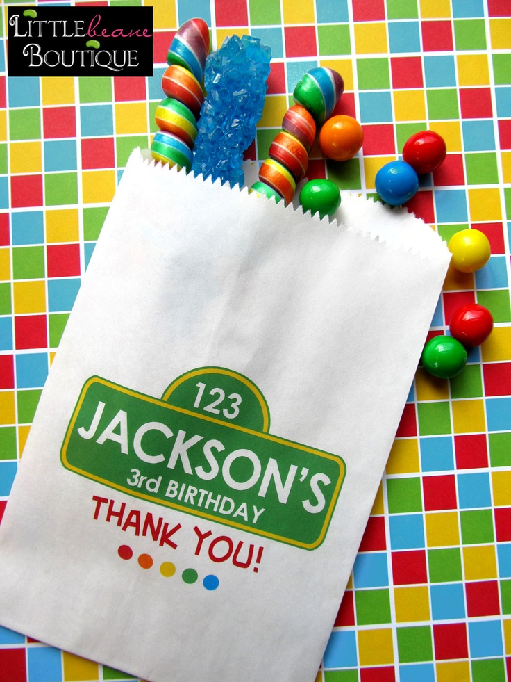 Sesame Street Birthday Party , Favor bags, candy bags, Candy Buffet, Birthday party, Sweets, Treats, Set of 24. $19.00, via Etsy.