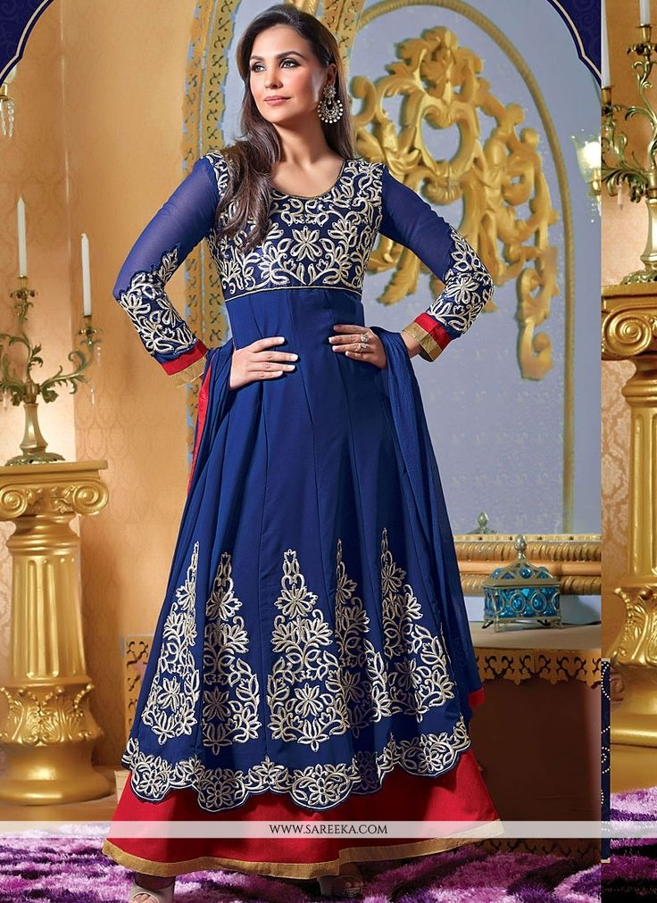 Lara Dutta Blue Resham Work Faux Georgette Anarkali Suit