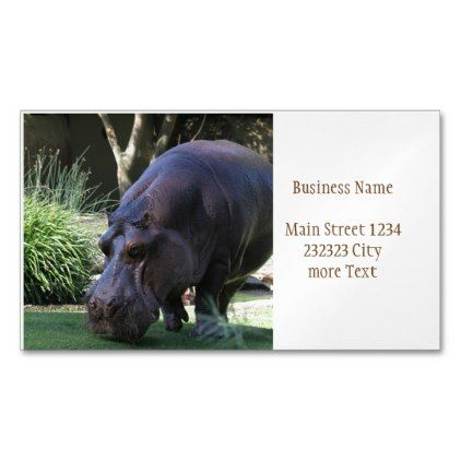 Hippo AJ17 Magnetic Business Card - animal gift ideas animals and pets diy customize