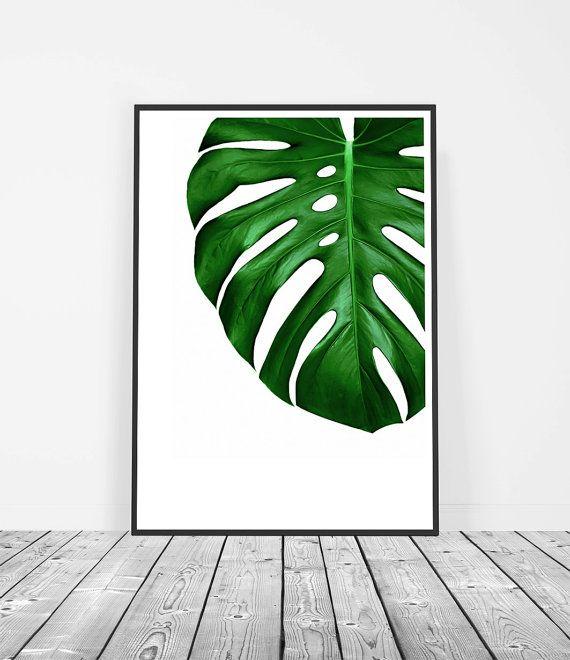 Tropical Leaf Print Monstera Leaf Print Printable Art Wall