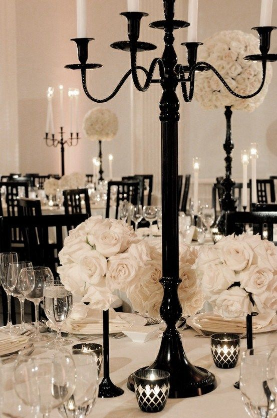 Table setting black and white themed wedding