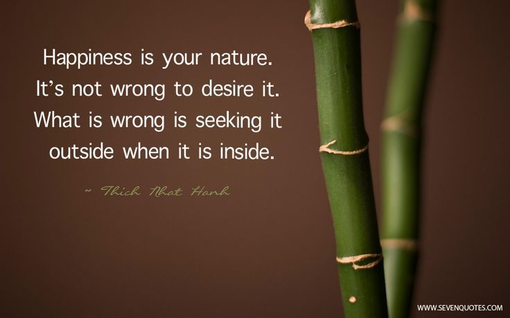 "Motivational Quote Of The Day  ""Happiness is your nature. It's not wrong to desire it. What is wrong is seeking it outside when it is inside.""  Thich Nhat Hanh"
