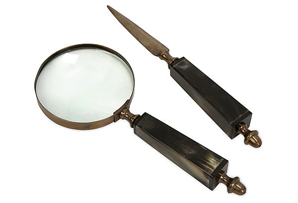Magnifying glass and letter opener for the  elegant father, #oklgiftsBrass Sets, Bones Handles, Squares Handles, Soren Bones, Handles Magnifying, Magnifying Glasses, Letters Open, Bones Magnifying, Desks Accessories