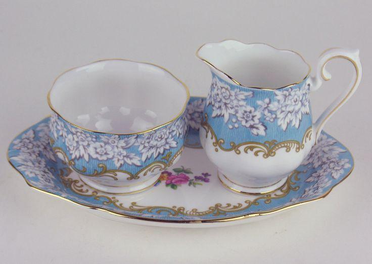 Creamer Sugar Bowl w Regal Tray Royal Albert Enchantment   eBay