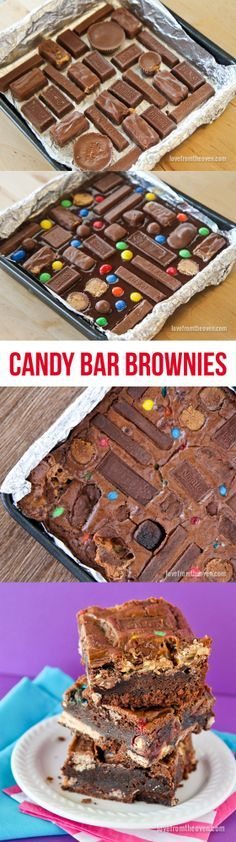 Candy Bar Brownies. Use up that Halloween candy with these crazy candy bar brownies!