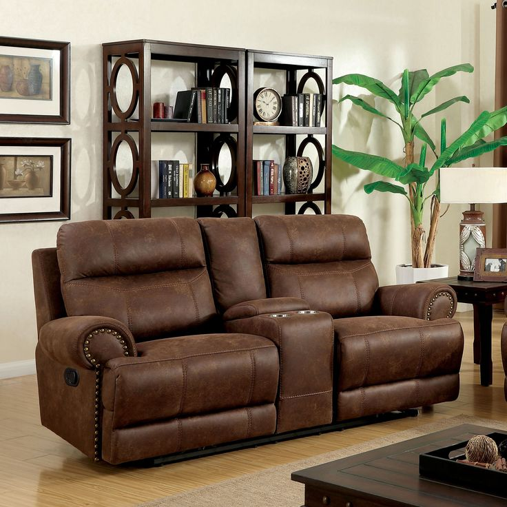 Furniture of America Langly Classic Fabric-like Vinyl Reclining Loveseat