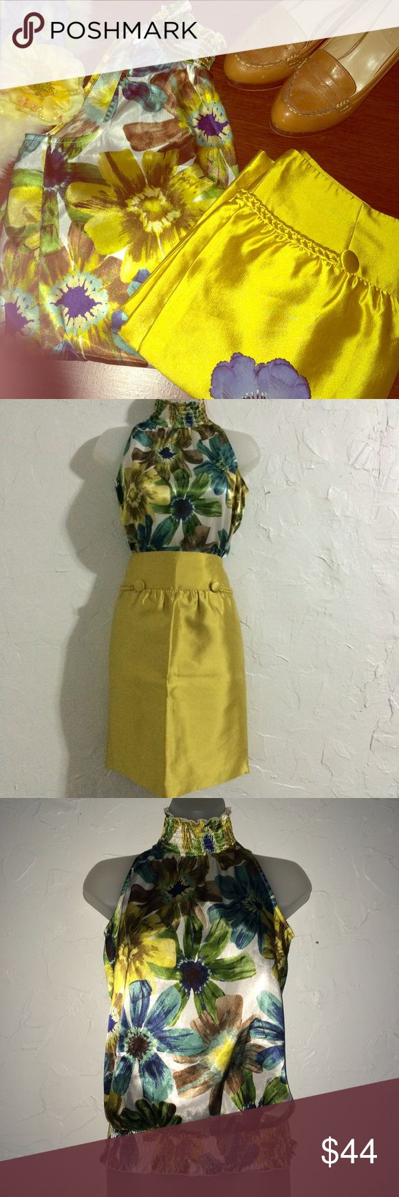 Outfit bundle Reiss Skirt size 4 and I Z Byer shirt size small. This outfit is an absolute stunner! Stop the show in this metallic yellow pencil skirt and silky floral print top! Pair with a blue cardigan and a belt for fall to make the perfect fall time look. 🚫 No trades 🚫 No 🅿️ay🅿️al 🚫 No Ⓜ️ercari 💕ask me about bundles 💸 lowest prices up front 🎀 Reiss Skirts Pencil