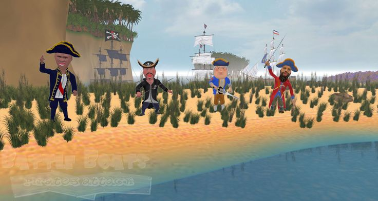 Battle Boats Game main characters starting from right - British Pirate ( Black Beard) , British Admiral ( Lorn Nelson), French Pirate Leader, French Admiral