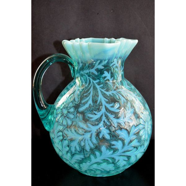 Daisy Fern Aqua Blue Opalescent Glass Pitcher Northwood Victorian... ($250) ❤ liked on Polyvore featuring home, kitchen & dining, serveware, glass serveware, glass pitcher and glass jug
