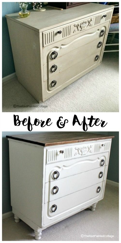 High Quality Unbelievable Transformation Of This Awesome Dresser With Added Legs,  Planked Top, Glass Knobs On Top Drawer And Paint! The Red Painted Cottage