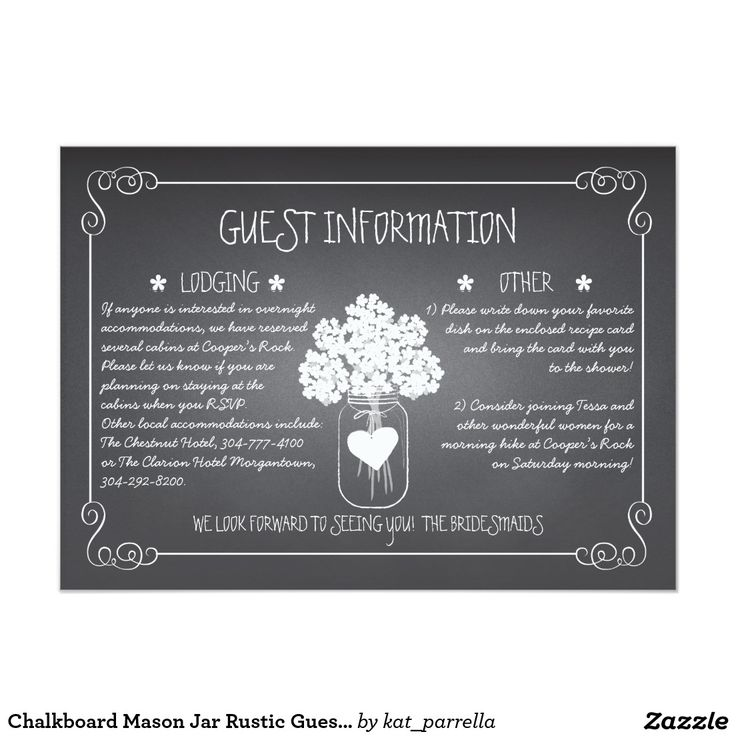 wedding card invitation cards online%0A Chalkboard Mason Jar Rustic Guest Information Card    Cm X    Cm Invitation  Card