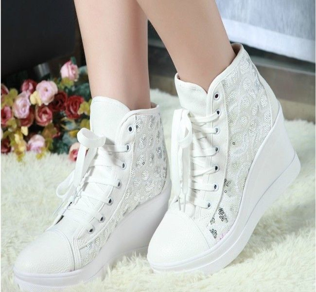 White Wedge Wedding Sneakers | Wedding Shoes
