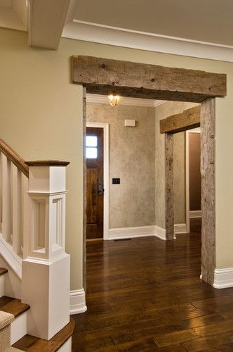 Barn Beam As Header In House With White Molding Rustic Door Frames I Love How The Barn W