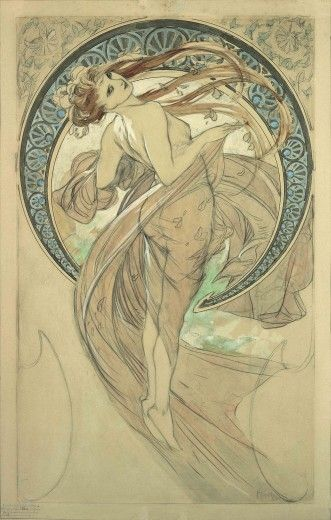 The Arts: study for 'Dance' (1898)  In the final version of this composition, Mucha added flowers and decorations to the figure's hair and a drape over her right breast.