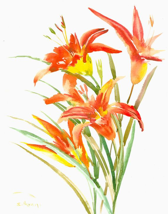 Orange Lilies painting, Original watercolor painting, 14 x 11 in, orange flowers,zen  brush painting, minimalist orange wall art