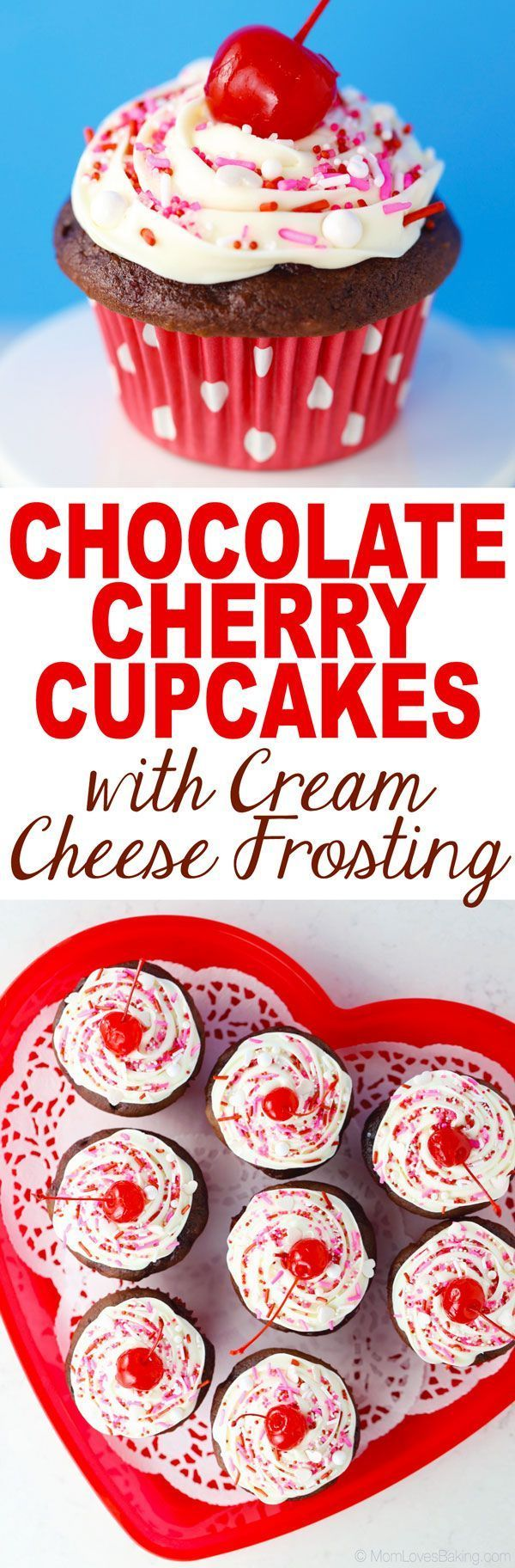 Chocolate Cherry Cupcakes! Perfect for Valentine's Day and super easy with @PillsburyBaking #ad #DoughboySurprise
