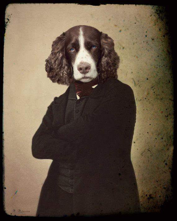 """Собака Картина, спаниель, Джейн Эйр, Mixed Media Измененные фотографии, антропоморфный, викторианский стимпанк, Красивый, """"Красивый мистер Рочестер"""""""