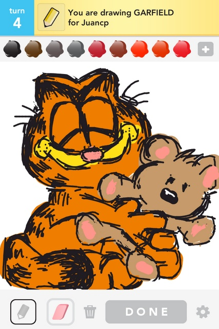 draw something - garfield & pookie!!  My family members have always called me pookie or pooky! Either way I have a soft spot for that lil bear!