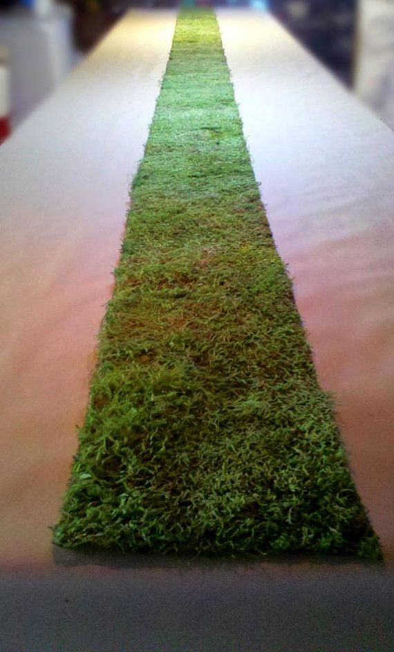 "12""x20' Real Moss Runner rustic display arch chic shabby settings bouquet products natural outdoor pew centerpiece church fairy placemats on Etsy, $41.40 --MOM: how cute for the wedding party table? Or gift table? Or something."