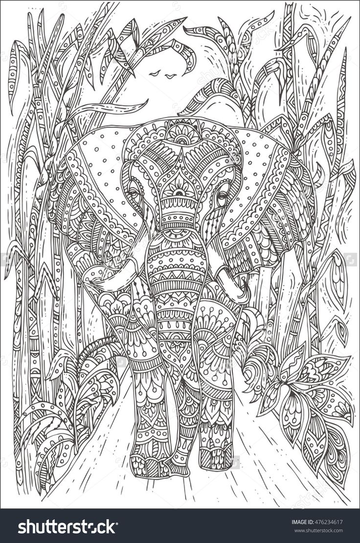 Relaxing coloring pages elephants
