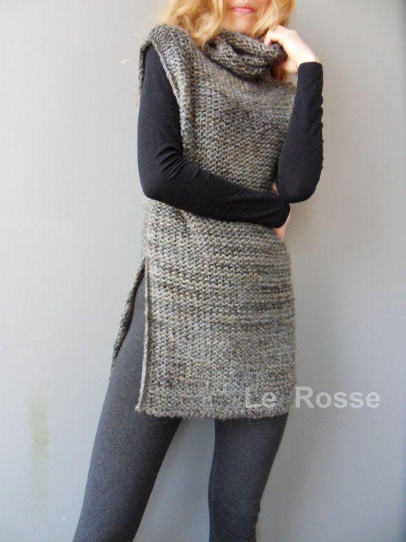 Wool womens vest. Sleevless sweater. Turtleneck vest. by LeRosse