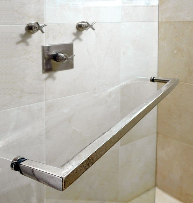 Rail Towel Bar Tb5 Thru Bolt Mounted To A Plate Glass