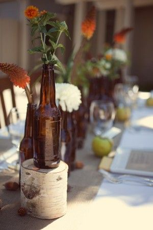 Twine Covered Bottle Table Decorations
