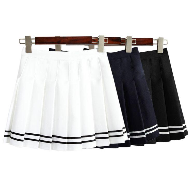 Drop ship taille haute boule plissée jupes Harajuku Mori filles bande a-ligne jupe marin Cosplay Japonais uniforme scolaire