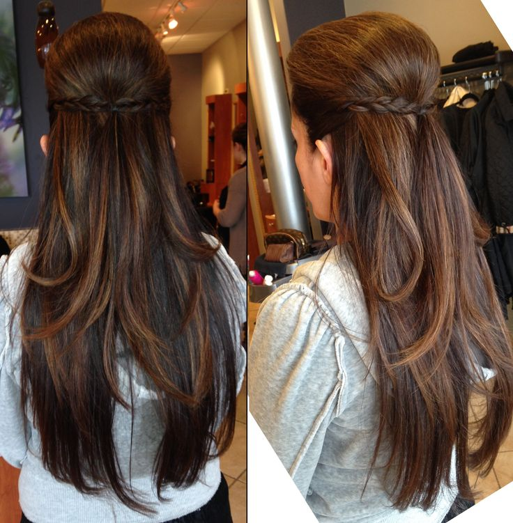 Simple yet classy Half Braid Updo for any occassion + plus stunning color and cut. Long Hair, brown hair, ombre