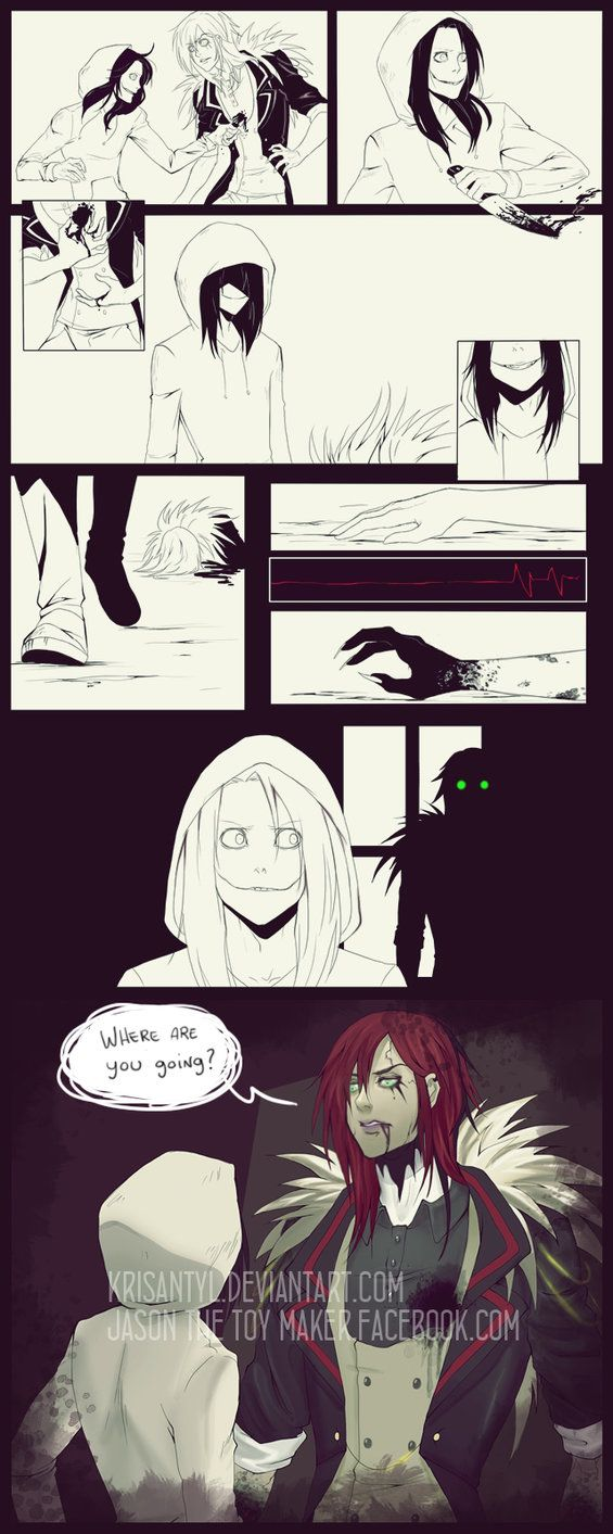 Jason the toy maker vs Jeff the killer-- Jeff, honey, sometimes you get a tiny bit too stab-happy... You may need to start considering who your victims are gonna be...