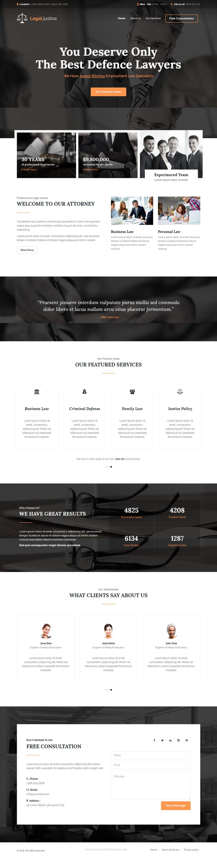 Legal justice is a stunning HTML5 Template – to make the best impression on current and future clients. It is perfect for #lawyers, law #firms, attorneys, consultants, legal corporations, legal Advisers, justice corporations, agents and for any legal and #law related businesses. #website