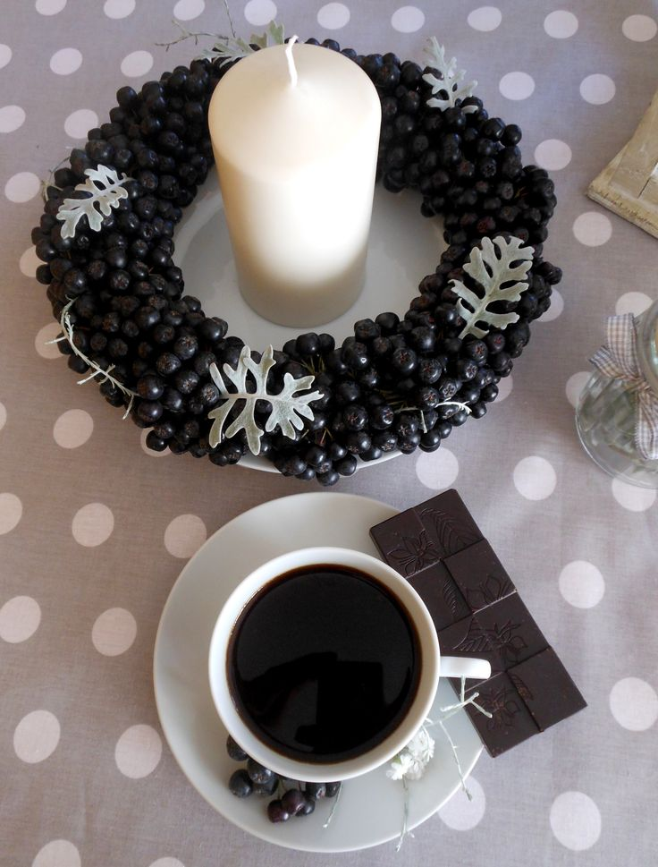 Coffee in Polish house, P olish coffee and chokeberries wreath