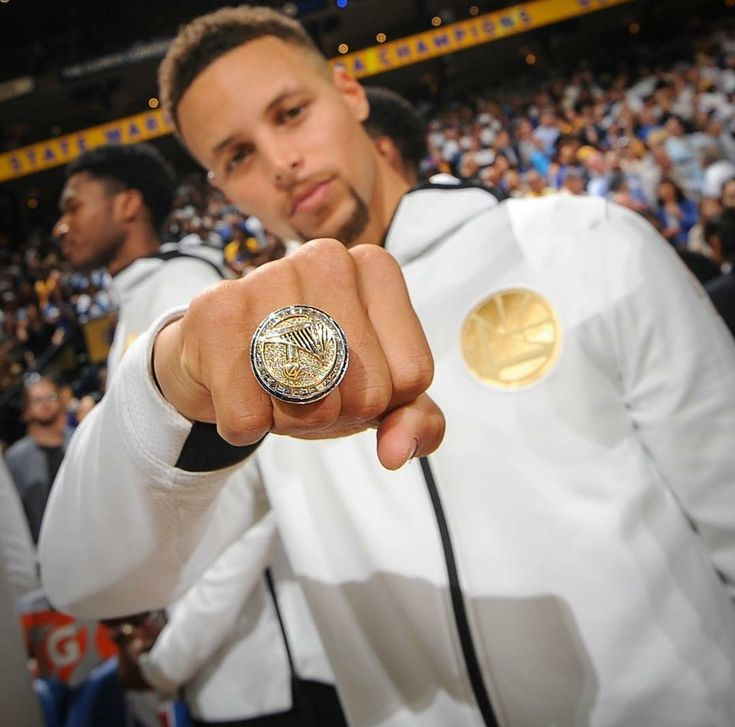 Stephen Curry with his Championship ring