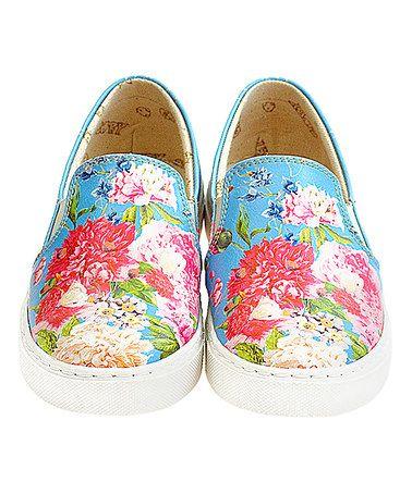 Love this Blue & Pink Floral Slip-On Sneaker - Kids on #zulily! #zulilyfinds