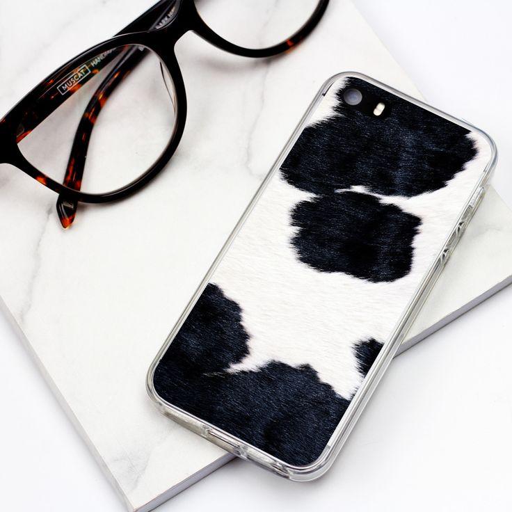Łaciate etui do telefonu #cow #fur #case